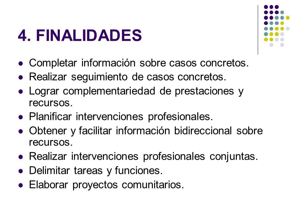 4. FINALIDADES Completar información sobre casos concretos.