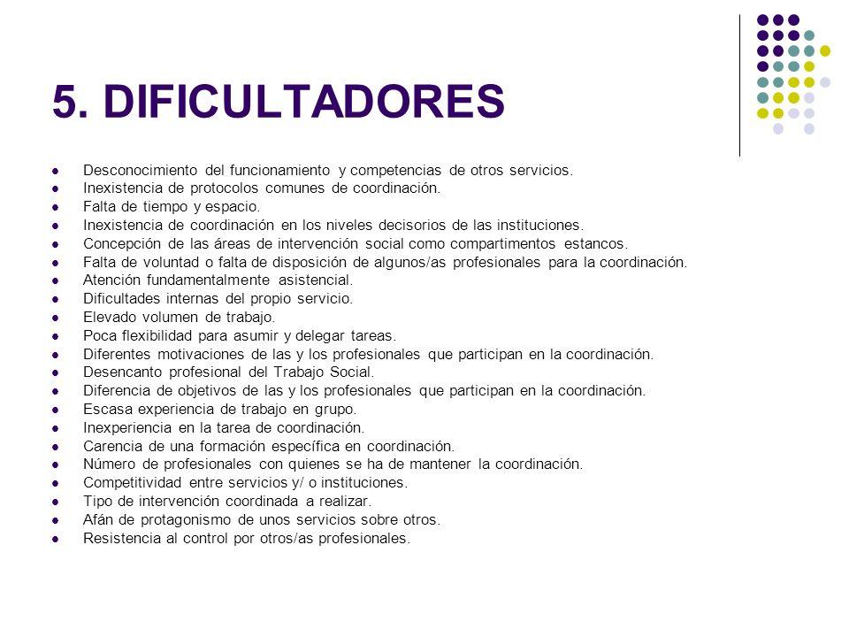 5. DIFICULTADORES Desconocimiento del funcionamiento y competencias de otros servicios. Inexistencia de protocolos comunes de coordinación.