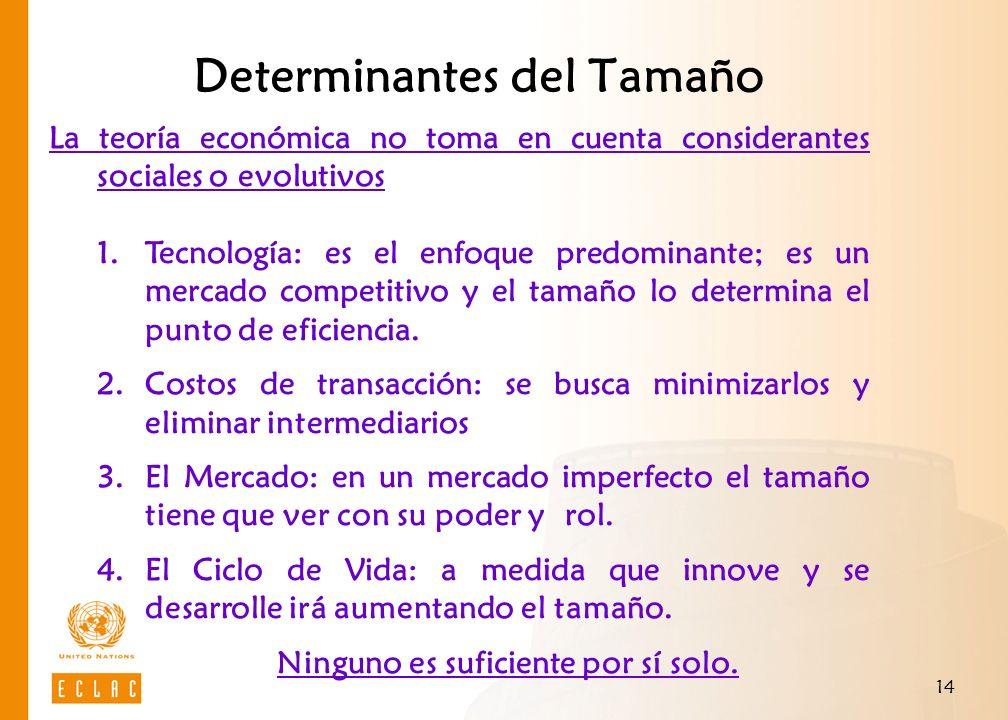 Determinantes del Tamaño