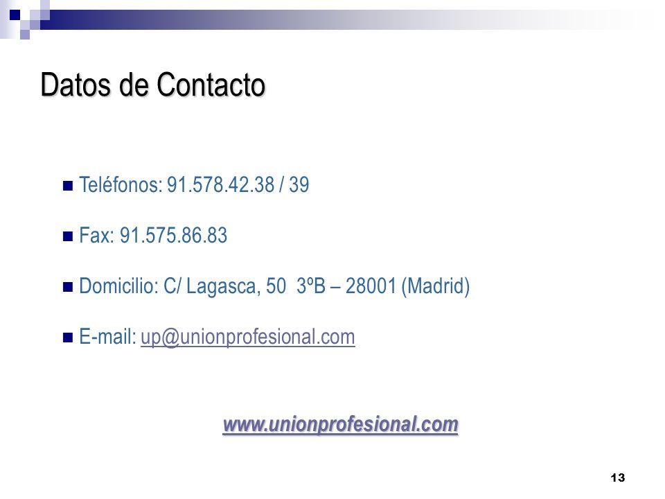 Datos de Contacto Teléfonos: 91.578.42.38 / 39 Fax: 91.575.86.83