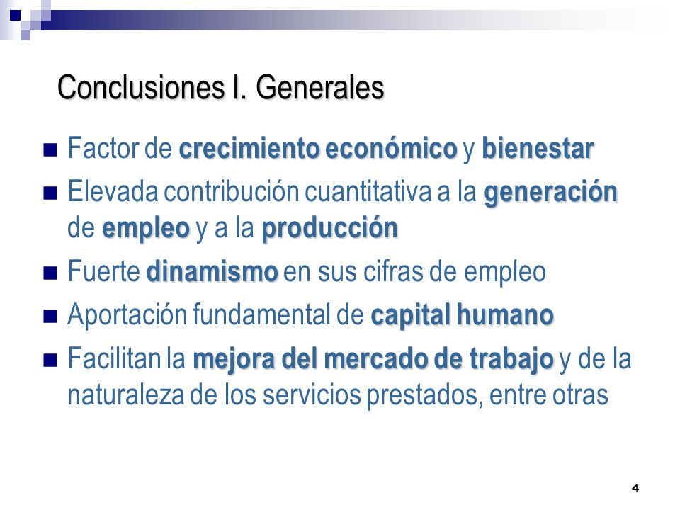 Conclusiones I. Generales