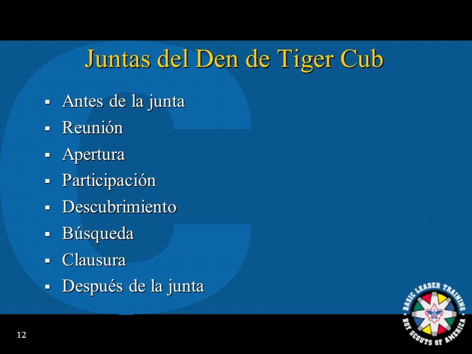 Juntas del Den de Tiger Cub