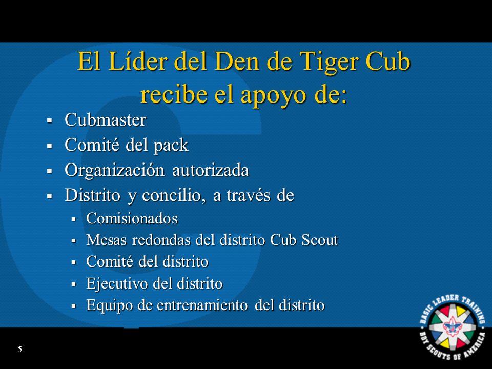 El Líder del Den de Tiger Cub recibe el apoyo de: