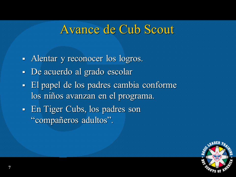Avance de Cub Scout Alentar y reconocer los logros.