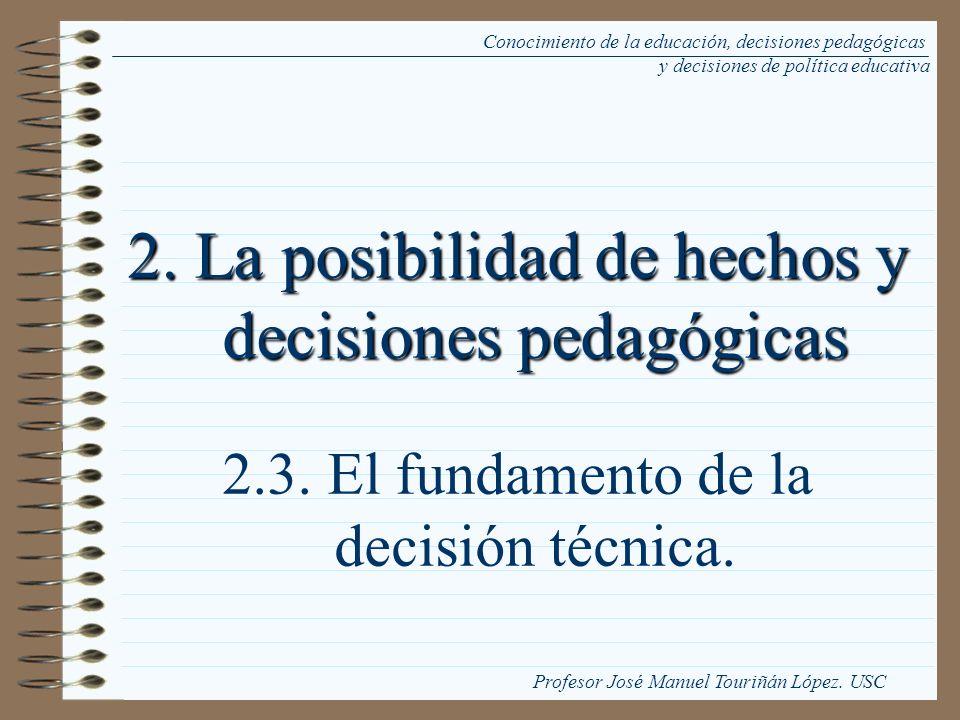 2. La posibilidad de hechos y decisiones pedagógicas