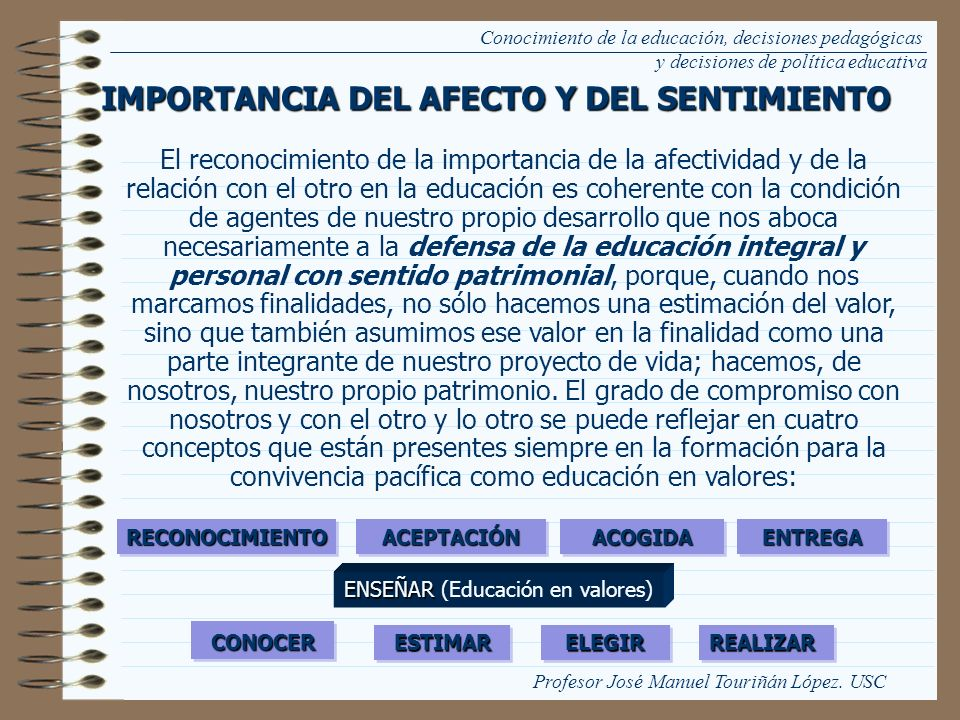 IMPORTANCIA DEL AFECTO Y DEL SENTIMIENTO
