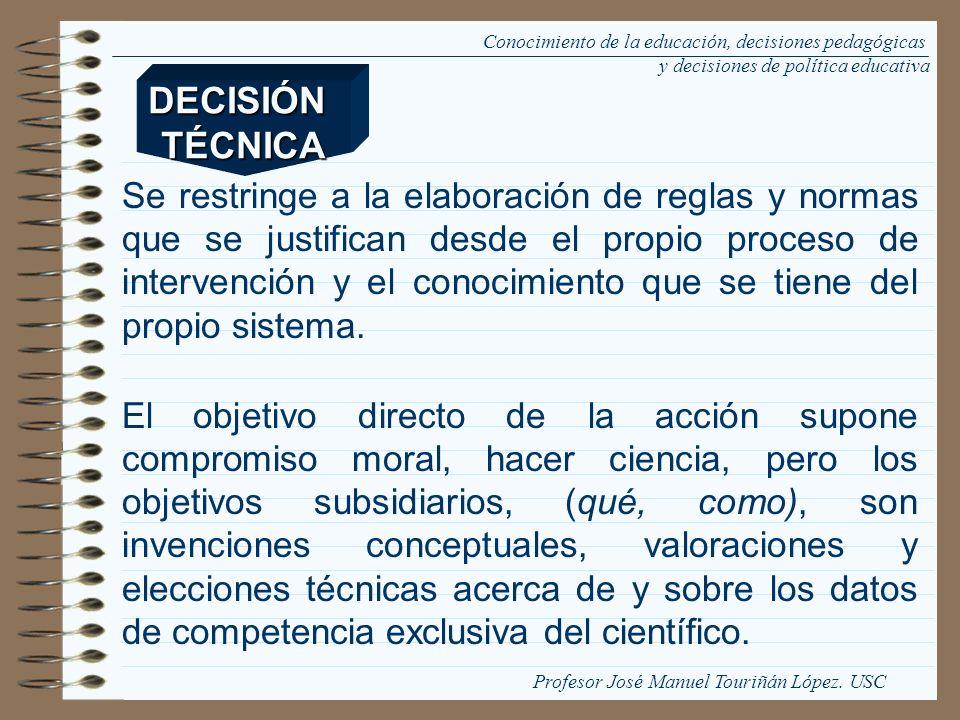 Conocimiento de la educación, decisiones pedagógicas