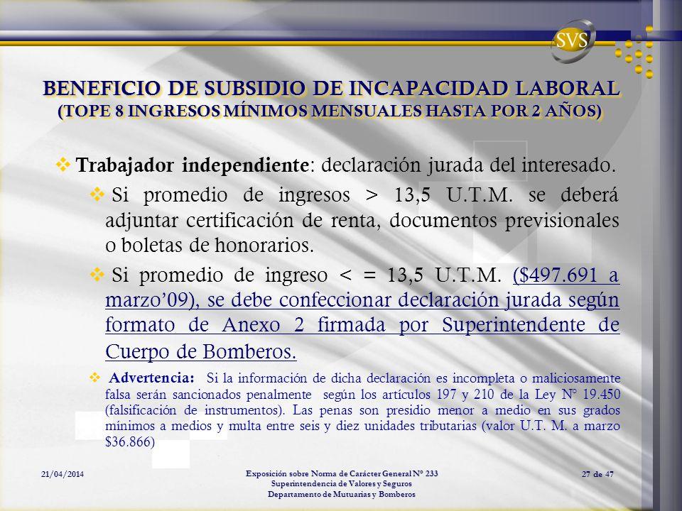 Trabajador independiente: declaración jurada del interesado.