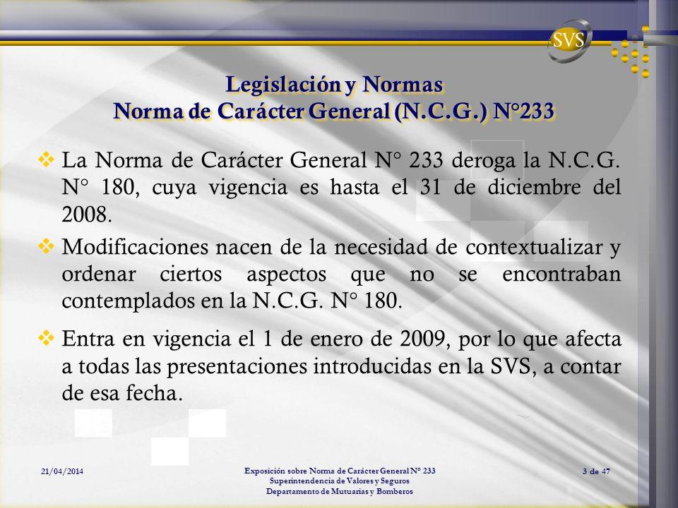 Legislación y Normas Norma de Carácter General (N.C.G.) N°233