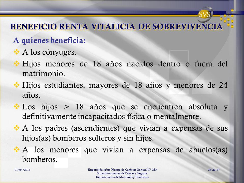 BENEFICIO RENTA VITALICIA DE SOBREVIVENCIA