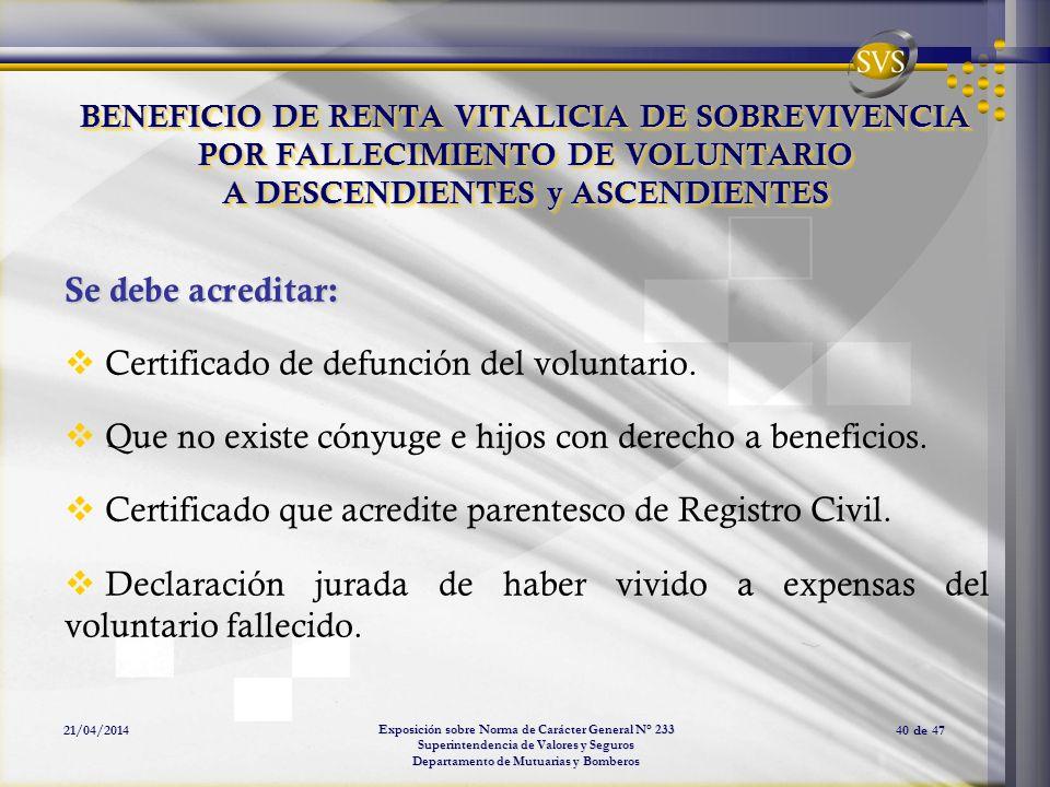 Certificado de defunción del voluntario.