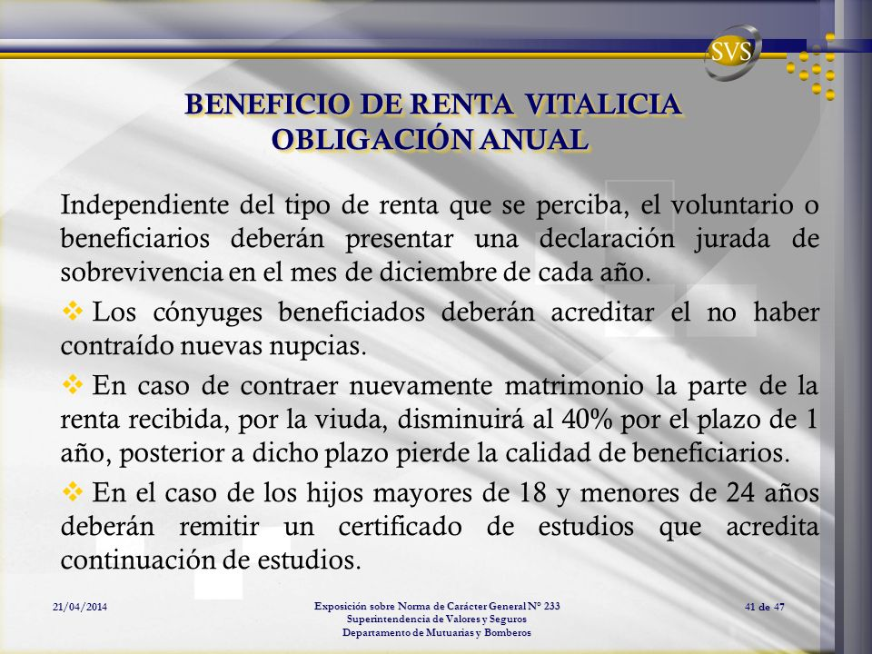 BENEFICIO DE RENTA VITALICIA OBLIGACIÓN ANUAL