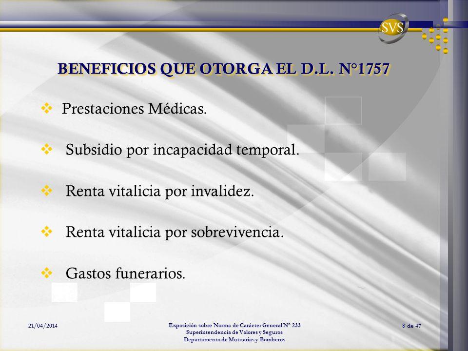 BENEFICIOS QUE OTORGA EL D.L. N°1757