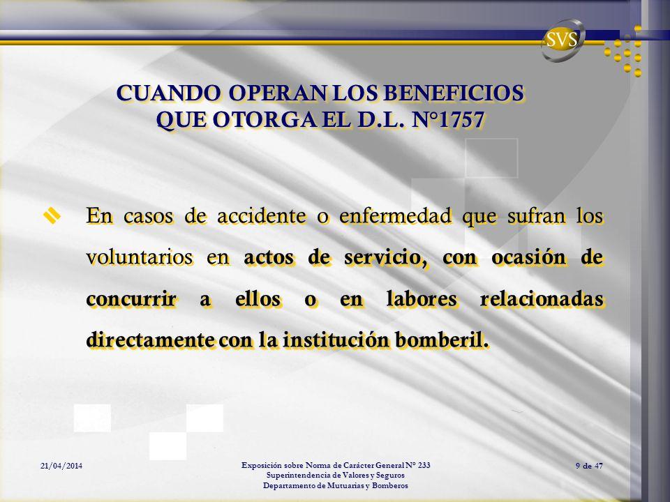 CUANDO OPERAN LOS BENEFICIOS QUE OTORGA EL D.L. N°1757