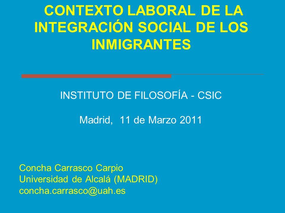 CONTEXTO LABORAL DE LA INTEGRACIÓN SOCIAL DE LOS INMIGRANTES