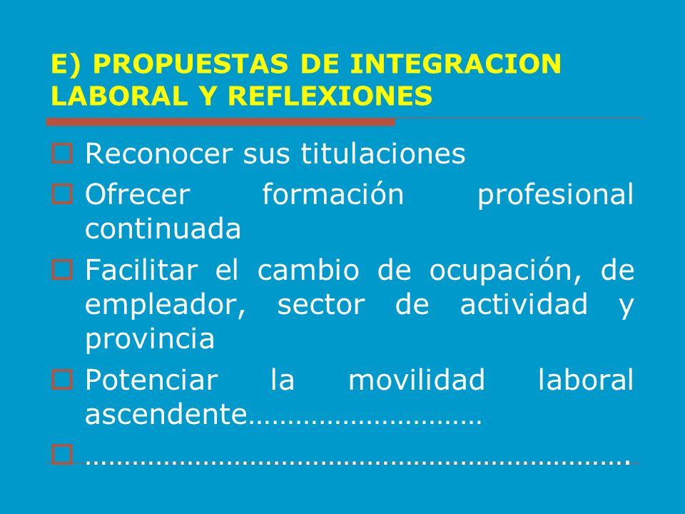 E) PROPUESTAS DE INTEGRACION LABORAL Y REFLEXIONES
