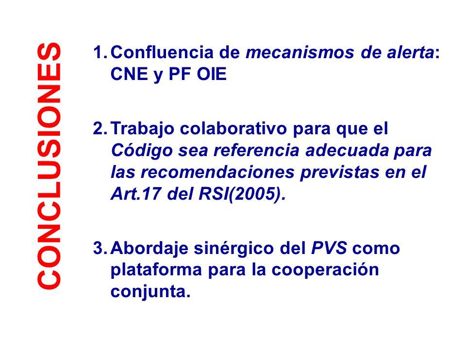 CONCLUSIONES Confluencia de mecanismos de alerta: CNE y PF OIE