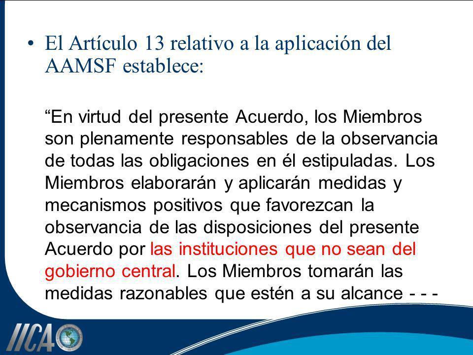 El Artículo 13 relativo a la aplicación del AAMSF establece: