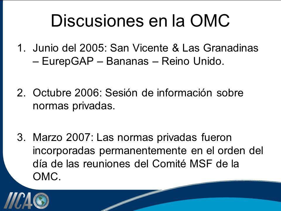 Discusiones en la OMC Junio del 2005: San Vicente & Las Granadinas – EurepGAP – Bananas – Reino Unido.