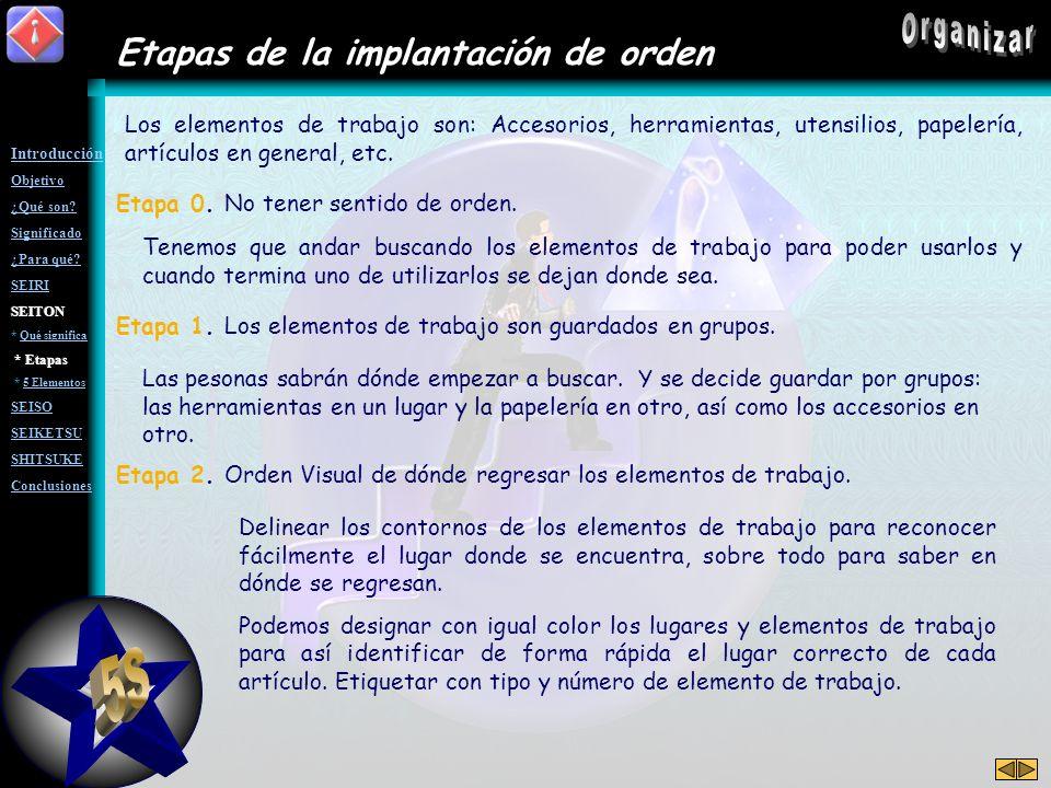 5S Organizar Etapas de la implantación de orden