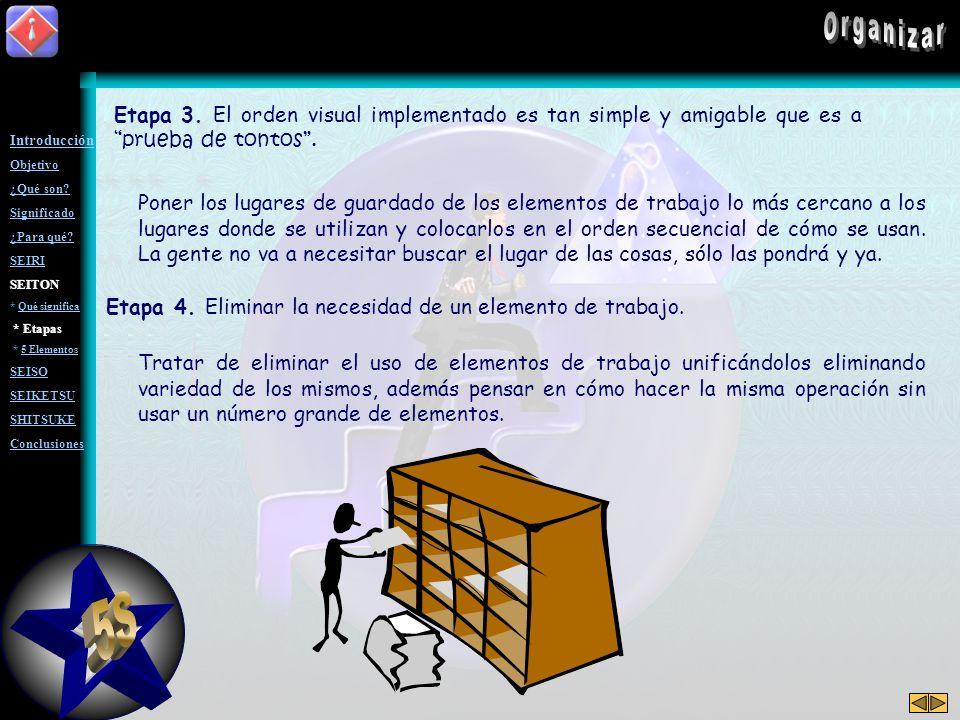 Organizar Etapa 3. El orden visual implementado es tan simple y amigable que es a prueba de tontos .
