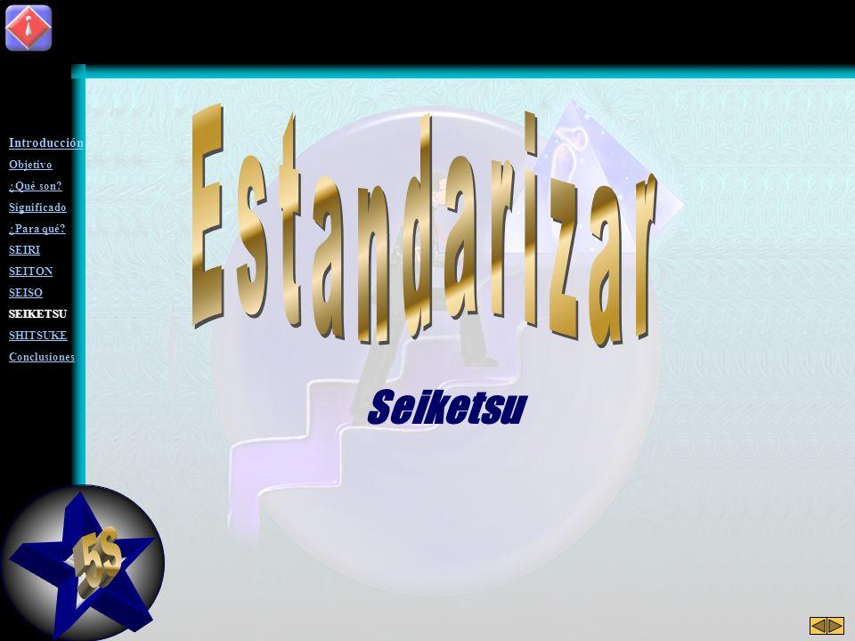 5S Estandarizar Seiketsu Introducción Objetivo ¿Qué son Significado