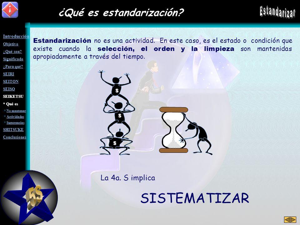 5S Estandarizar SISTEMATIZAR ¿Qué es estandarización La 4a. S implica