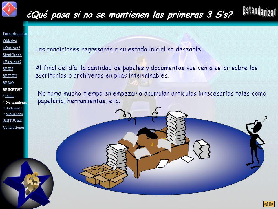 5S Estandarizar ¿Qué pasa si no se mantienen las primeras 3 S's
