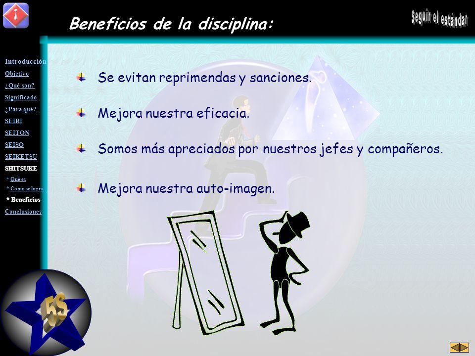 5S Seguir el estándar Beneficios de la disciplina:
