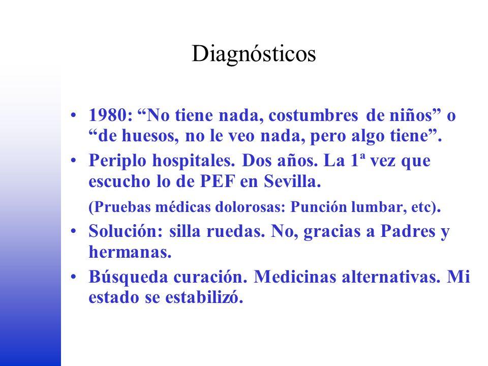 Diagnósticos FEDER. 1980: No tiene nada, costumbres de niños o de huesos, no le veo nada, pero algo tiene .