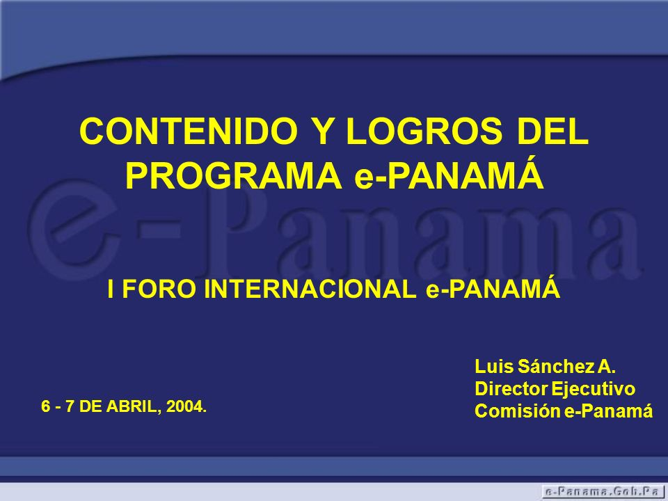 I FORO INTERNACIONAL e-PANAMÁ