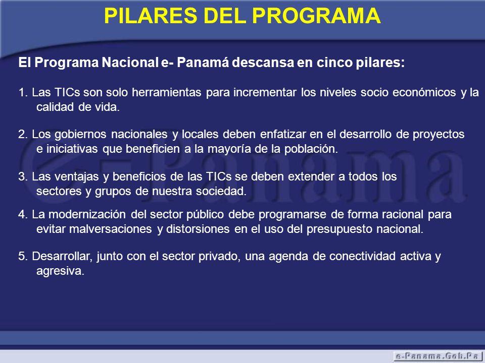 PILARES DEL PROGRAMA El Programa Nacional e- Panamá descansa en cinco pilares: