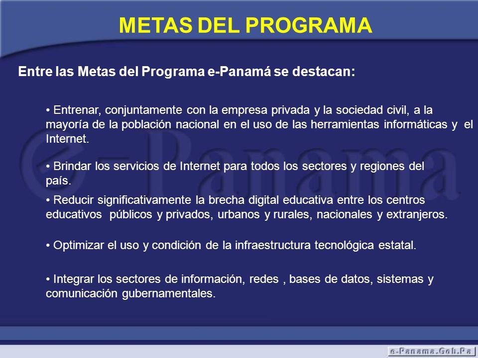 METAS DEL PROGRAMA Entre las Metas del Programa e-Panamá se destacan: