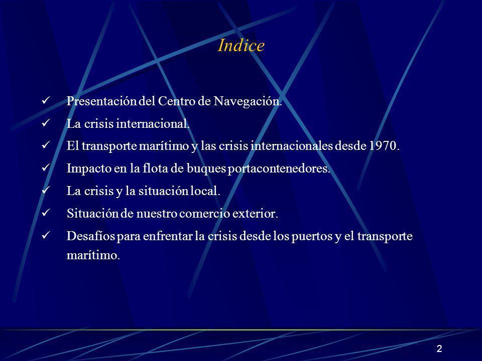 Indice Presentación del Centro de Navegación. La crisis internacional.