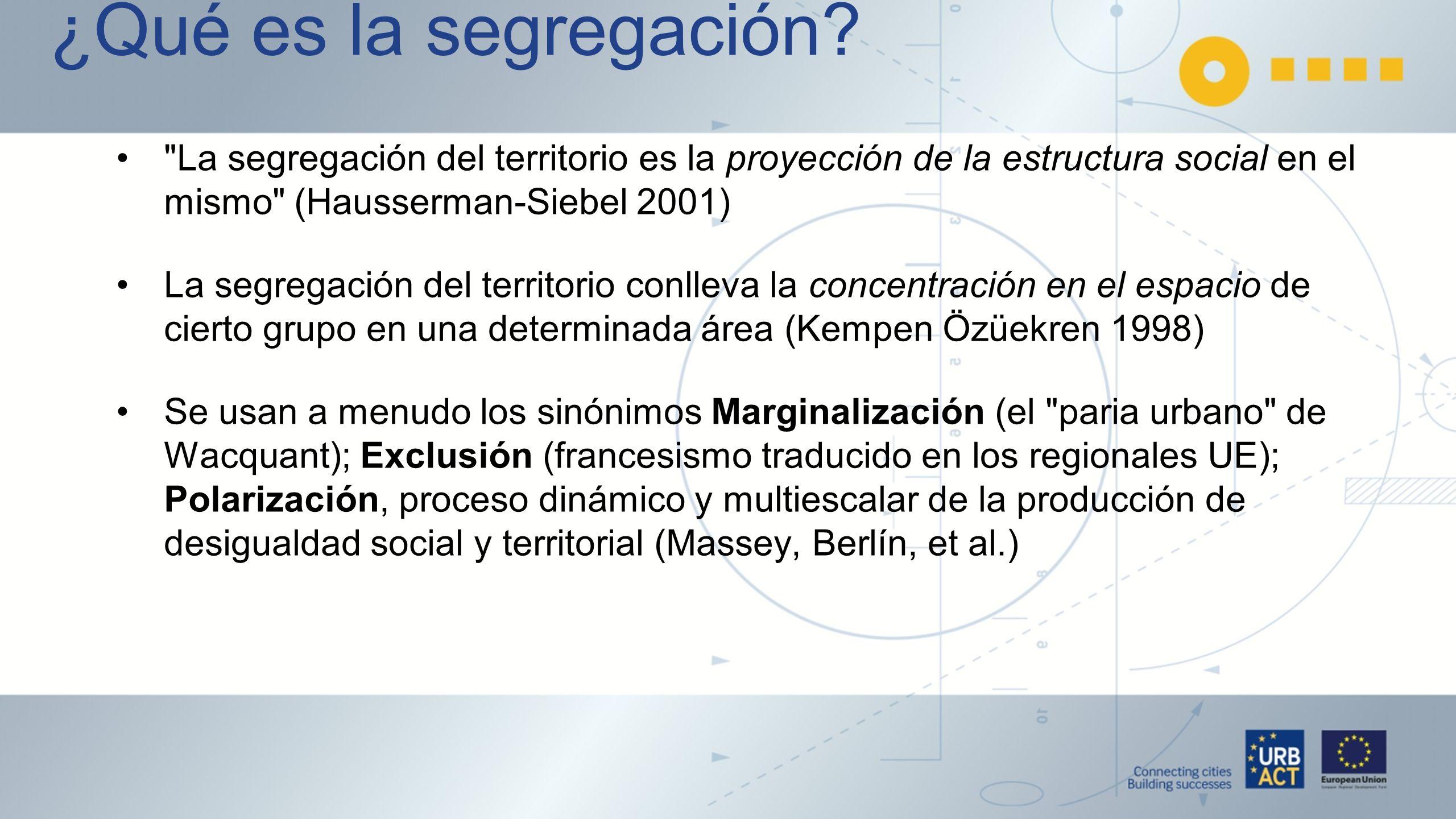 ¿Qué es la segregación La segregación del territorio es la proyección de la estructura social en el mismo (Hausserman-Siebel 2001)
