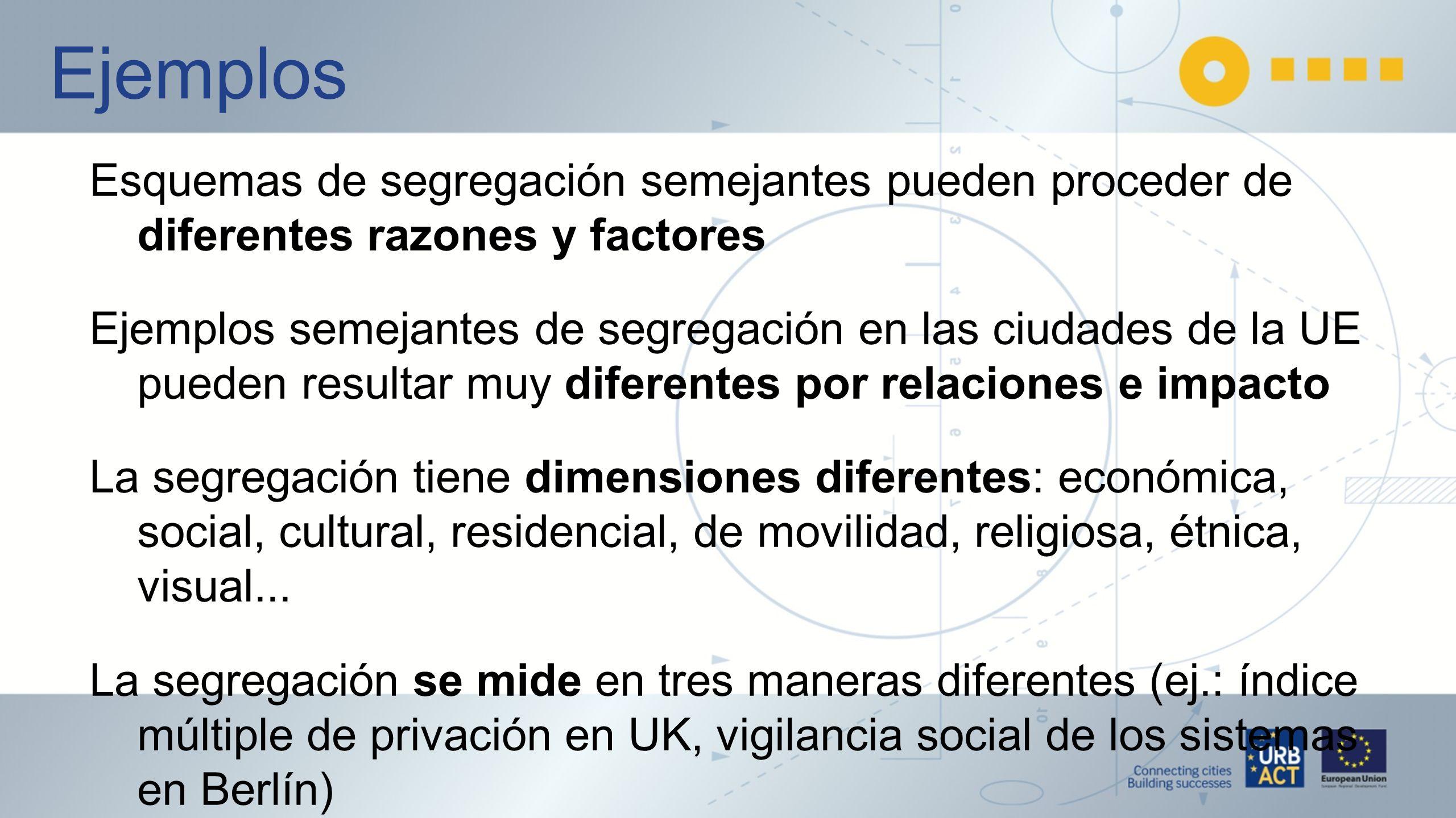 Ejemplos Esquemas de segregación semejantes pueden proceder de diferentes razones y factores.