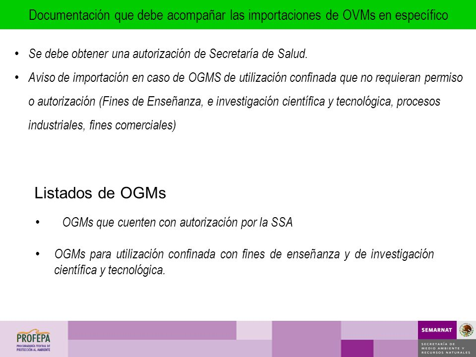 Documentación que debe acompañar las importaciones de OVMs en específico