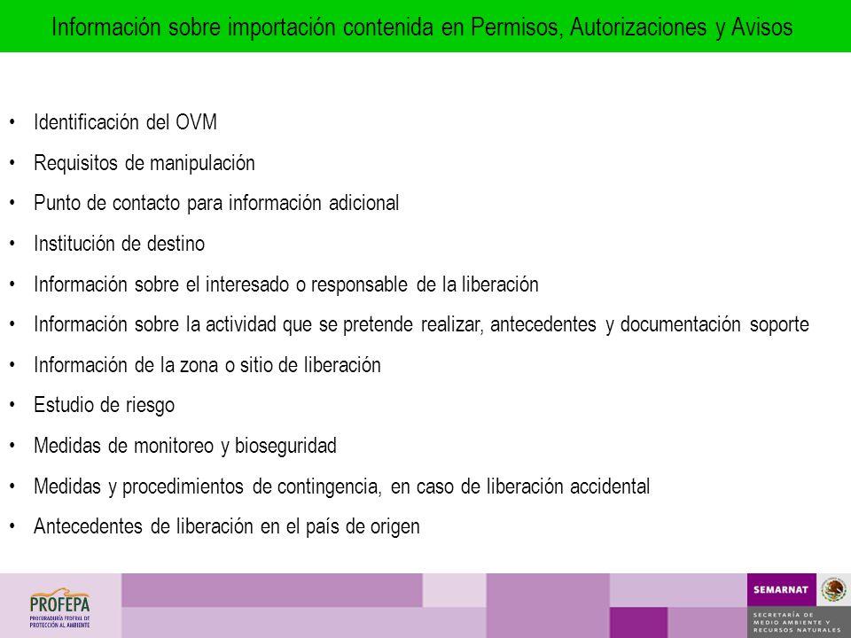 Información sobre importación contenida en Permisos, Autorizaciones y Avisos