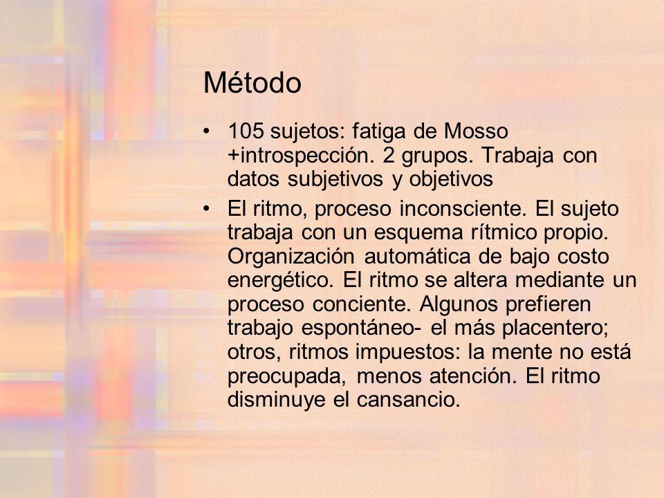 Método 105 sujetos: fatiga de Mosso +introspección. 2 grupos. Trabaja con datos subjetivos y objetivos.