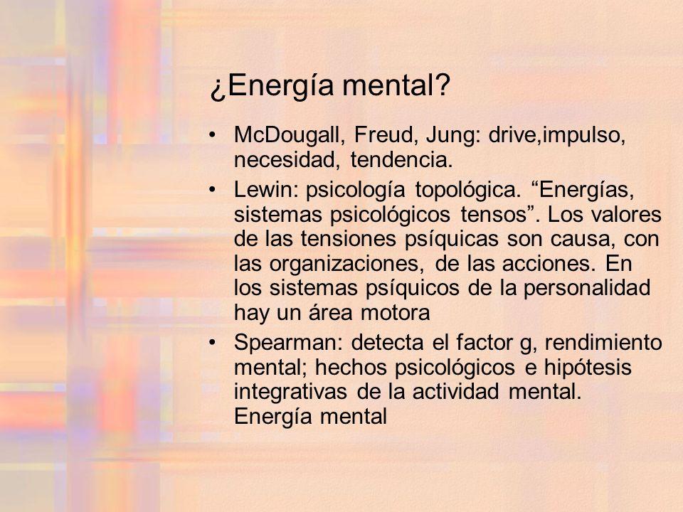 ¿Energía mental McDougall, Freud, Jung: drive,impulso, necesidad, tendencia.