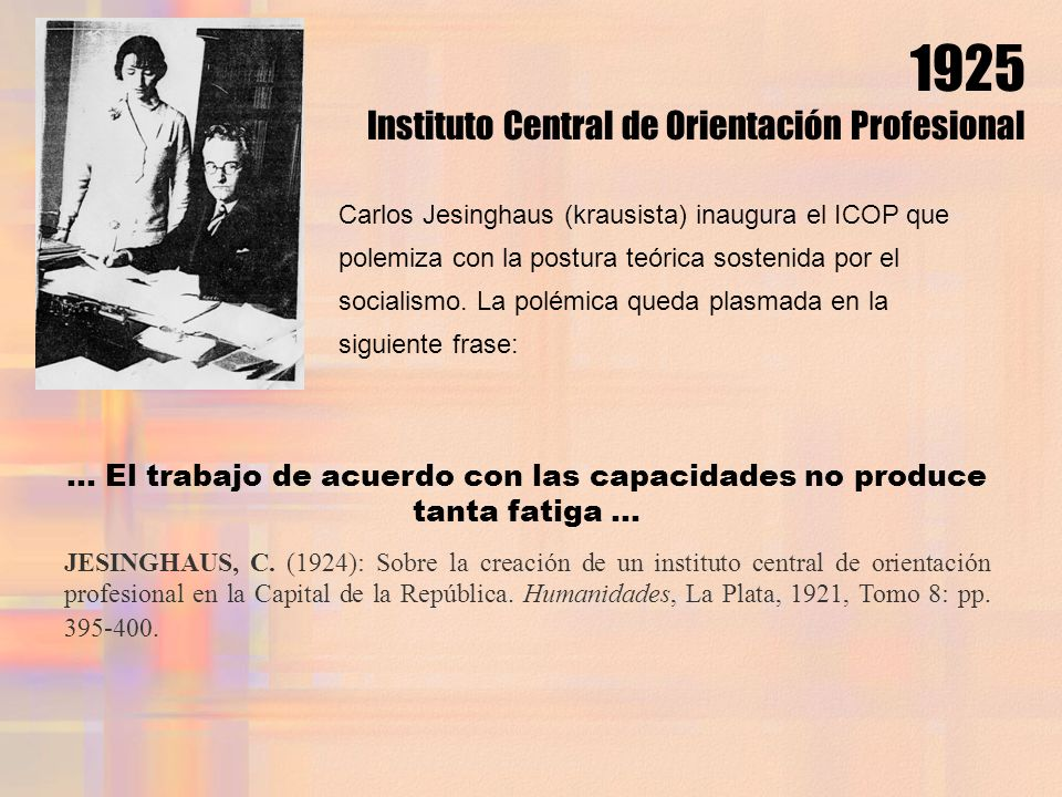 1925 Instituto Central de Orientación Profesional