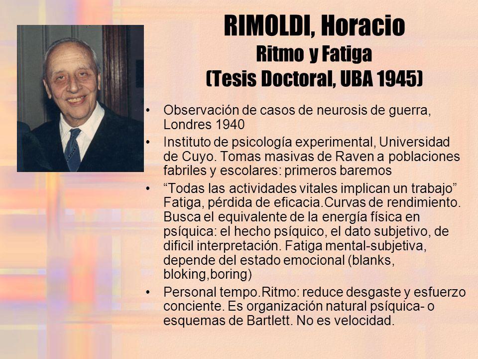 RIMOLDI, Horacio Ritmo y Fatiga (Tesis Doctoral, UBA 1945)