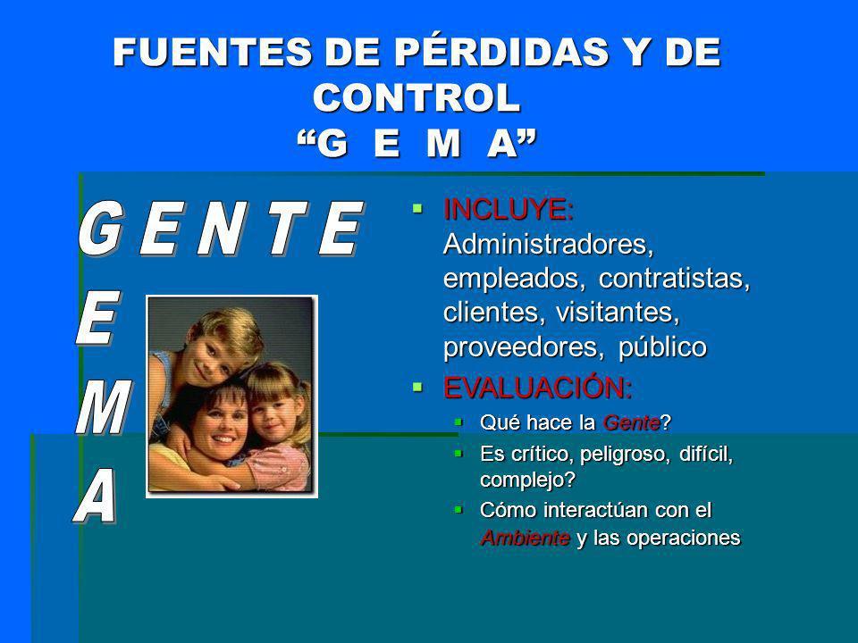 FUENTES DE PÉRDIDAS Y DE CONTROL G E M A