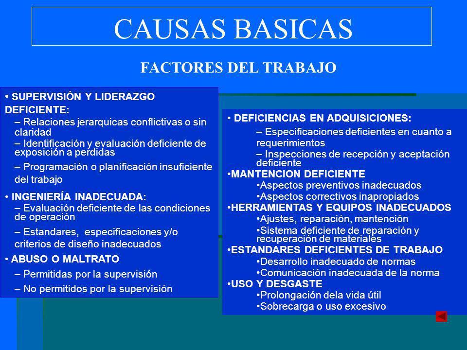 CAUSAS BASICAS FACTORES DEL TRABAJO