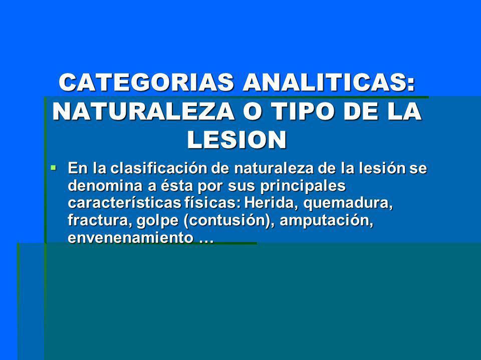 CATEGORIAS ANALITICAS: NATURALEZA O TIPO DE LA LESION