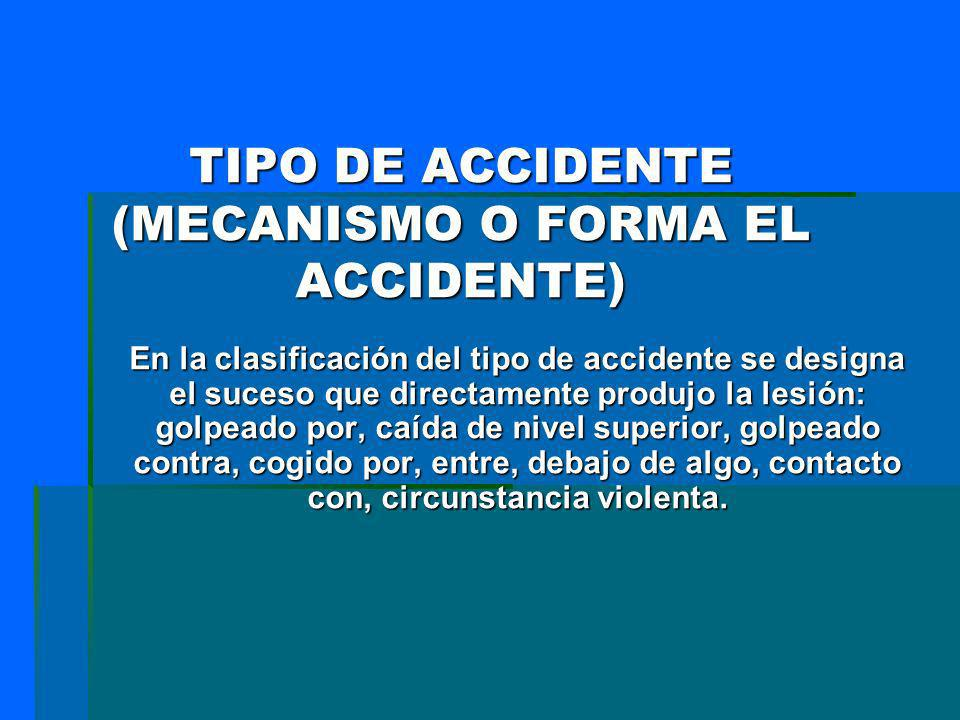 TIPO DE ACCIDENTE (MECANISMO O FORMA EL ACCIDENTE)