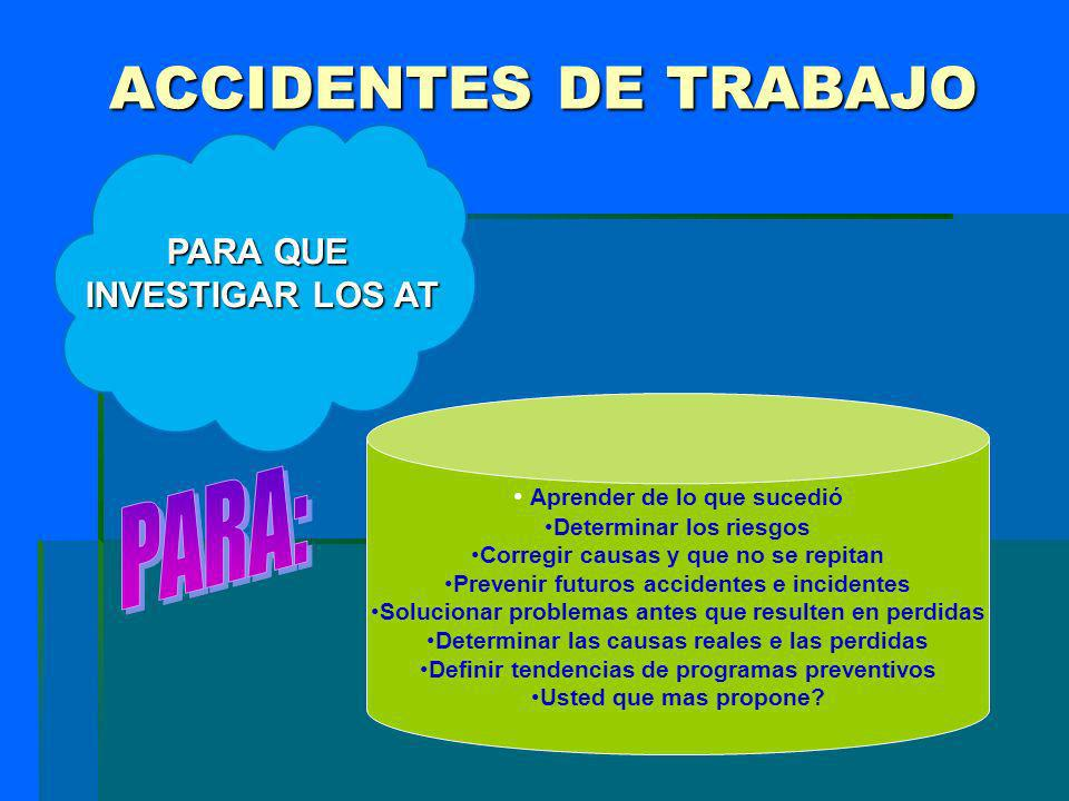 ACCIDENTES DE TRABAJO PARA: PARA QUE INVESTIGAR LOS AT