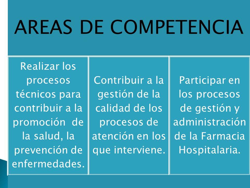 AREAS DE COMPETENCIA Realizar los procesos técnicos para contribuir a la promoción de la salud, la prevención de enfermedades.