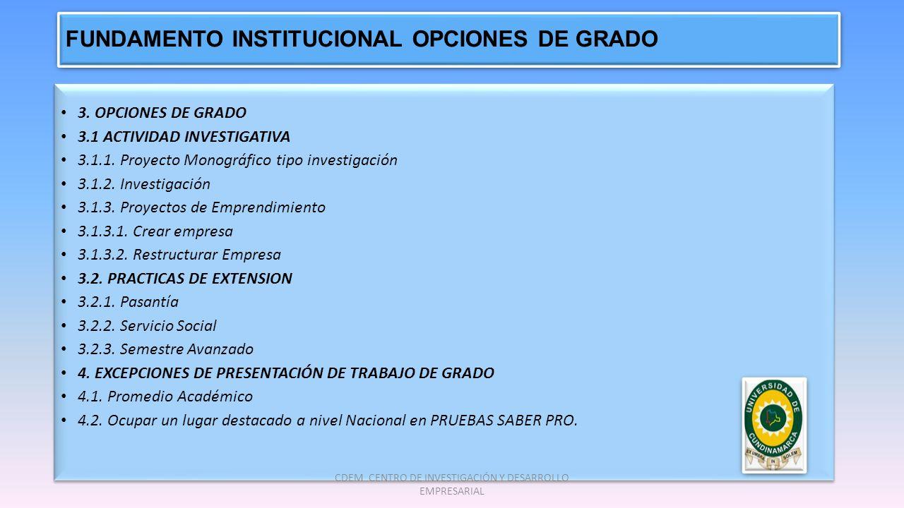 FUNDAMENTO INSTITUCIONAL OPCIONES DE GRADO