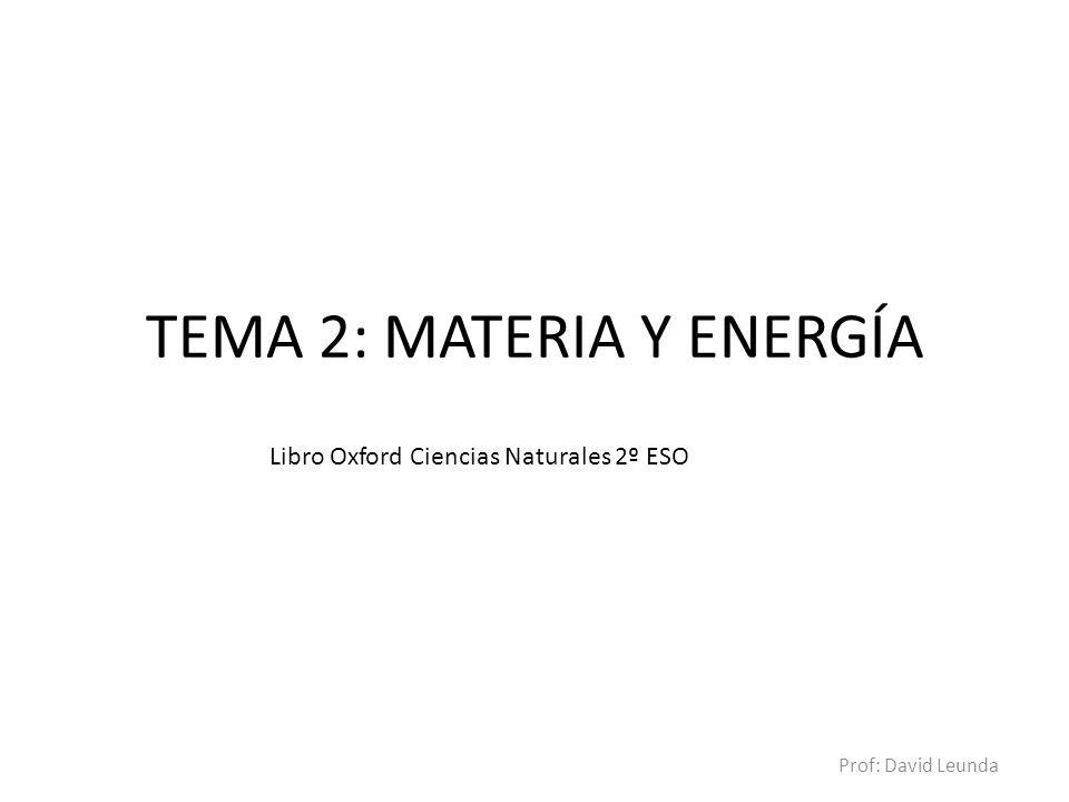 TEMA 2: MATERIA Y ENERGÍA
